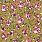 Retro pattern with simple doodle flowers. Flowers. Seamless pattern. Primitive style Stock Photos