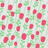 Flowers seamless pattern. Red roses with green stems. Floral Ret Stock Photo