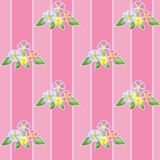 Flowers seamless pattern on striped background Stock Image