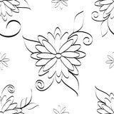 Flowers seamless pattern vector illustration for fabric, cloth, package, wall, decoration, furniture, printing media. Black and white background design. Flower royalty free illustration