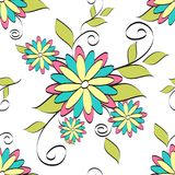 Flowers seamless pattern vector illustration for fabric, cloth, package, wall, decoration, furniture, printing media. Colorful background design. Flower icon vector illustration