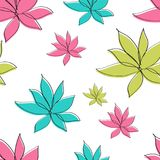 Flowers seamless pattern vector illustration for fabric, cloth, package, wall, decoration, furniture, printing media. Pink background design. Flower icon stock illustration