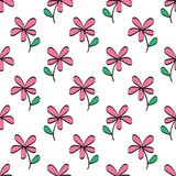 Flowers seamless pattern vector illustration for fabric, cloth, package, wall, decoration, furniture, printing media. Pink background design. Flower icon royalty free illustration