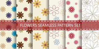 Flowers seamless pattern. Vector set. Stock Photos