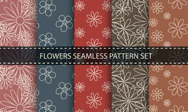 Flowers seamless pattern. Vector set. Stock Photography