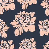 Flowers, seamless pattern. Vintage floral background. Beige buds on a blue . For the fabric design, wallpaper, wrap Stock Photo