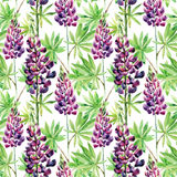 Flowers seamless pattern with watercolor lupines Stock Photo