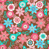 Flowers Seamless Repeat Pattern. Vector Illustration Background Stock Image