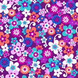 Flowers Seamless Repeat Pattern Vector. Funky Flowers Seamless Vector Repeat Pattern Illustration stock illustration