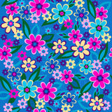 Flowers Seamless Repeat Pattern Vector. Flowers Seamless Vector Repeat Pattern Illustration on Blue Background vector illustration