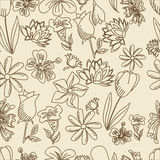 Flowers seamless retro vector illustration Royalty Free Stock Photo