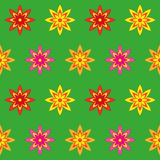 Flowers Seamless Texture. Pattern of bright red, yellow, orange and pink flowers on a green background. Seamless texture. Textiles, fabric, baby clothes Stock Image