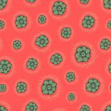 Flowers seamless texture on red background. Vector backdrop. Stock Photo