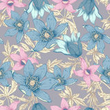 Flowers. Seamless vector background. Royalty Free Stock Photos
