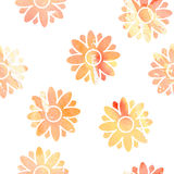 Flowers seamless watercolor Stock Images