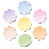 Flowers Self Stick Notes. Self stick notes in flower shape - a set of seven different dainty pastel shades. Isolated vector illustration on white background Stock Photography