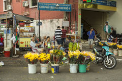 Flowers seller in Ho Chi Minh, Vietnam Royalty Free Stock Image
