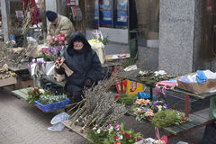 Flowers seller Stock Photo