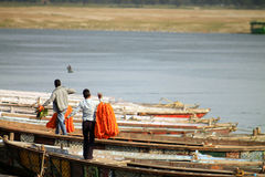 Flowers sellers on the Ganges. In Varanasi Royalty Free Stock Images