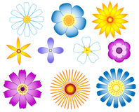 Flowers set. Isolated on white. Vector illustration Stock Images