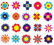 Flowers set. Beautiful background with abstract bright flowers set Royalty Free Stock Image
