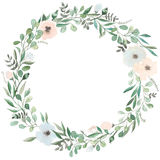 Flowers set. Beautiful wreath. Elegant floral collection with isolated blue,pink leaves and flowers, hand drawn. Detailed watercolor illustration. Blooming Royalty Free Stock Photo