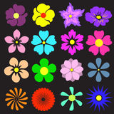 Flowers set with different. Colorful vector illustration. Stock Photo