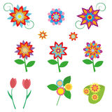 Flowers set in a flat style isolated on white background. Vector, illustration EPS10. Royalty Free Stock Photos