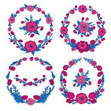 Flowers Set. Floral Frames. Greeting Cards Decoration Royalty Free Stock Photo
