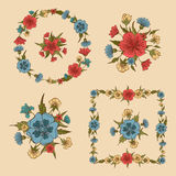 Flowers Set. Floral Frames. Greeting Cards Decoration Stock Image
