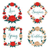 Flowers Set. Floral Frames. Red Roses. White Roses Stock Photos