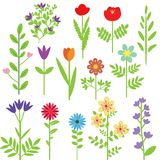 Flowers set. Various  grahic decorative flowers set Stock Images