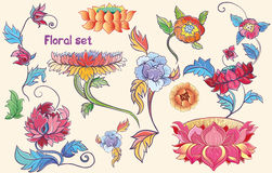 Flowers Set With Lotuses And Peonies. Asian Theme Stock Images