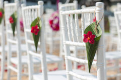 Flowers  setting. Wedding setting on the beach Royalty Free Stock Images