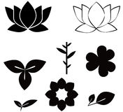 Flowers shape black silhouette set  illustrations  on w Stock Photo
