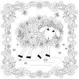 Flowers sheep in frame monochrome sketch, coloring page anti-stress stok vector illustration for print Royalty Free Stock Photos