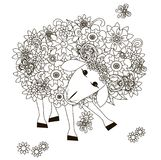Flowers sheep monochrome sketch, coloring page anti-stress stok vector illustration for print Royalty Free Stock Images