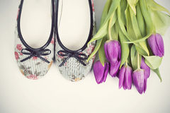 Flowers and shoes. Retro photo Royalty Free Stock Images