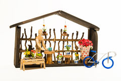 Flowers shop with blue bicycle isolated on white background Stock Photography