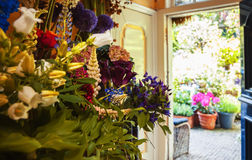 Flowers shop with garden Royalty Free Stock Photography