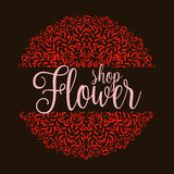 Flowers shop logo with red mandala Royalty Free Stock Photos