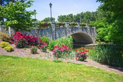 Flowers Showcased at Norfolk Botanical Gardens. Flowers enclosing the stone bridge over the canal passing through the Norfolk Botanical Gardens Royalty Free Stock Photo