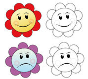Flowers showing emotions. Colorful flowers showing their emotions. The black & white version could be used for coloring book pages for children vector illustration