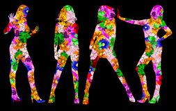 Flowers silhouette girls Royalty Free Stock Images