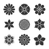 Flowers silhouette icons. Elements of abstract flowers. Submitted in a flat style Stock Photos