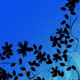 Flowers silhouettes background. Decorative corner design with flowers and leaves silhouettes over blue Stock Photo