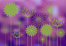 Flowers silhouettes on bokeh background. Green flowers silhouettes on bright bokeh background Stock Photo