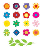 Flowers. Sixteen flowers icons with green twig Royalty Free Stock Image