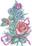 Flowers sketch, drawing of greeting card Royalty Free Stock Photo