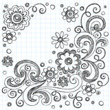 Flowers Sketchy Doodles Vector Design Elements. Hand-Drawn FLowers Back to School Sketchy Notebook Doodles- Illustration Design Elements on Lined Sketchbook vector illustration